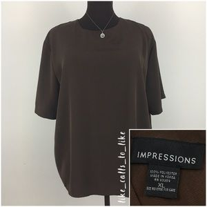 Impressions Woman's Blouse - Brown - Size XL